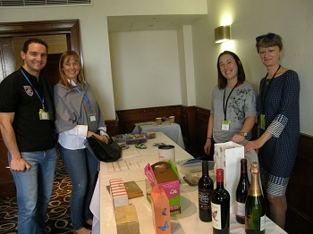 Marc Escudier, Antje Steinfurth, Anna Hicks & Sandra Kornet at the quiz and raffle stalls.