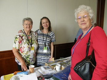 Janice & Alison Hentley and Irene Moss at the Tristan souvenir stall.