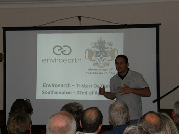 Marc Escudier talking about the Enviroearth monitoring station on Tristan
