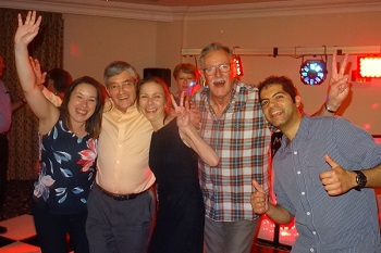 Party animals Anna Hicks, Mike Faulds, Alison Hentley, Jim Kerr & Aniket Sardana.
