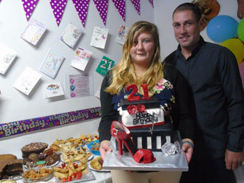 Leanne Swain with her boyfriend Julian Repetto at her 21st birthday party.