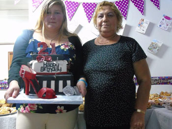 Leanne Swain with her grandmother Nora Swain at her 21st birthday party.