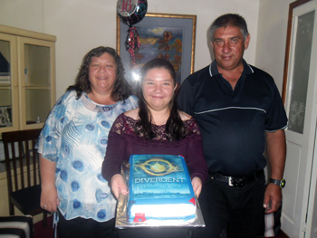 Kaitlyn Hagan with her parents on her 16th birthday.