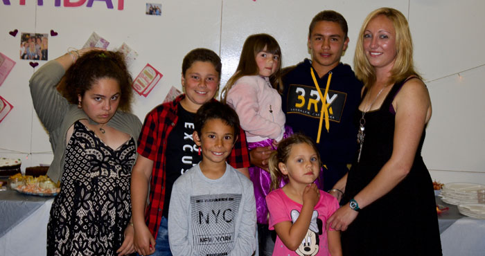 Kirsty Repetto with her godchildren and their friends