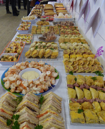 The magnificent spread of food at Isobel Swain's 90th birthday party.