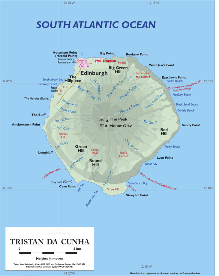 Tristan Da Cunha Island: Tristan Da Cunha Map At Slyspyder.com