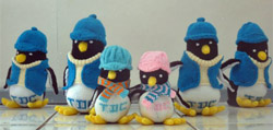Tristan knitted toy penguins
