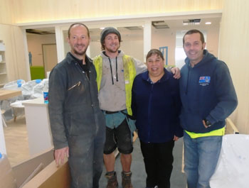 Galliford Try Contractors Brian Beck, Grant Pearce, and John Sanders with Vera Glass