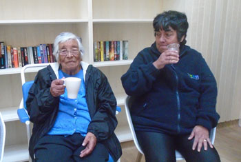 Aunt Ellen celebrating with a cup of tea alongside her youngest daughter Brenda.
