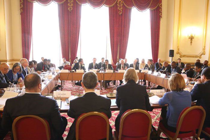 The Overseas Territories' Joint Ministerial Council in progress at Lancaster House.