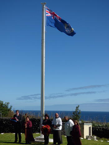 Tristan da Cunha Remembrance Sunday 2018: Group photo at the Flagpole