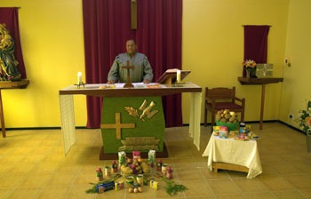 Harvest Festival - Eucharistic Minister Mr Dereck Rogers, conducting the service in St Joseph's Catholic Church