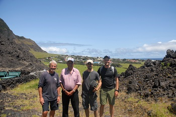'Pristine Seas' team visiting the 1961 volcano.