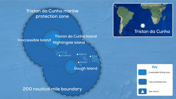 Map of the Tristan da Cunha Marine Protection Zone