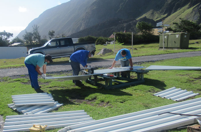 Cutting new roofing sheets to size