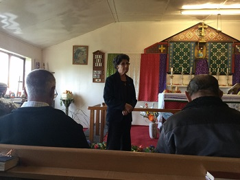 St Mary's Anglican Church. Trina Repetto addresses the congregation.