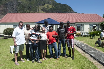 Kenyan crew of the SVS Grenville with Administrator Sean Burns and his wife Marina.