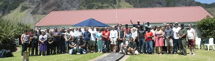 The expedition team and crew with Island Councillors and staff of the Conservation and Fisheries Departments.