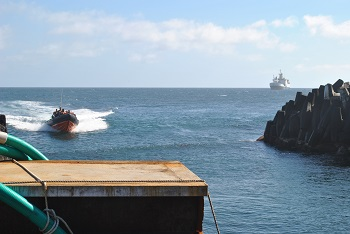 Transferring ashore from the RMS St Helena