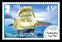 Early Mail Ships Definitives, 45p - 1937 Sailing Ship Cape Pilar