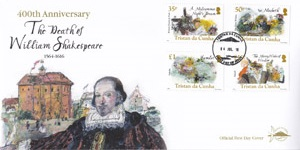 400th Anniversary of the Death of William Shakespeare: First day cover