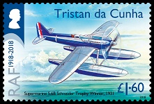 Centenary of the RAF 1918-2018, £1.60, Supermarine S.6B Schneider Tropy Winner, 1931