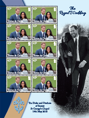 Royal Wedding of Prince Harry & Meghan Markle, 45p sheet of 10 with pictoral border