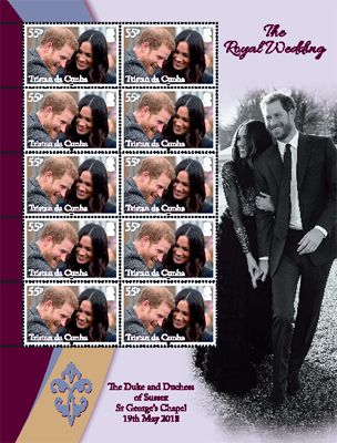 Royal Wedding of Prince Harry & Meghan Markle, 55p sheet of 10 with pictoral border