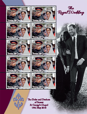 Royal Wedding of Prince Harry & Meghan Markle, £2.00 sheet of 10 with pictoral border