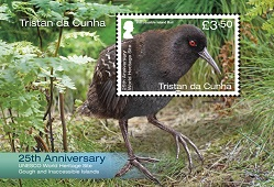 25th Anniversary of UNESCO World Heritage Site: £3.50 Souvenir sheetlet, Inaccessible Island Rail