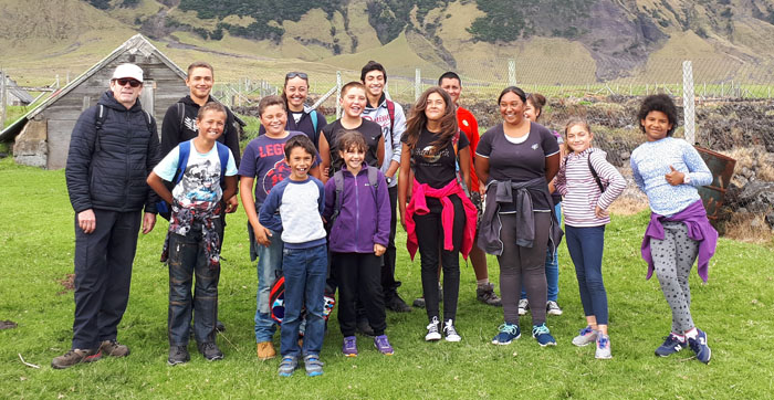 Sponsored walk to the Patches by students of St Mary's School, Tristan da Cunha