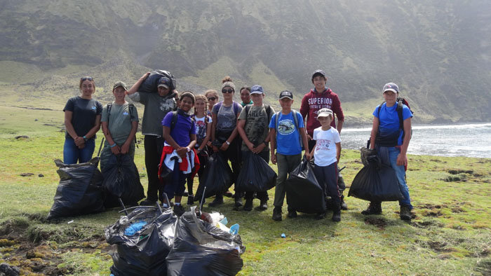 The students with their haul of cleared rubbish.