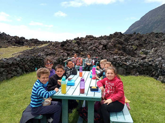 Class One and Two enjoying a picnic lunch at Volcanic Park '61