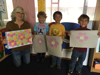 Kate, Aiden, Lucas and Connor with their patterns.
