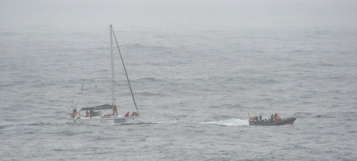 yacht Rotary Scout being towed by RIB Atantic Dawn