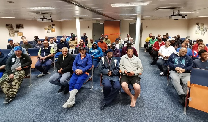 Evacuated crew of the MFV Geo Searcher on the SA Agulhas II