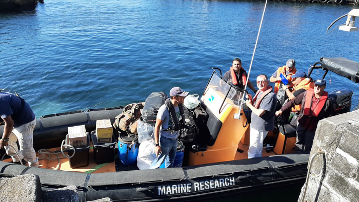 Tristan conservation team and their gear loaded into the RIB to join SV Urchin on their way to Gough