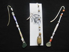 TT51 - Bookmarkers made from paper beads, rock or beach seaglass and wooden or glass bead 18cm length
