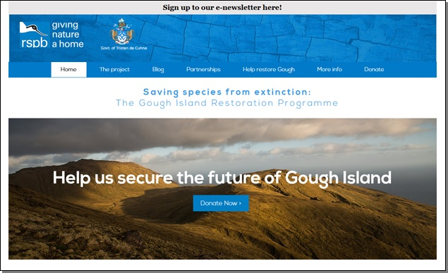 Screen shot of the RSPB web page for the Gough Island Restoration Programme